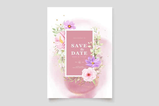 Cartão de convite de casamento de crisântemo watercolor Vetor grátis