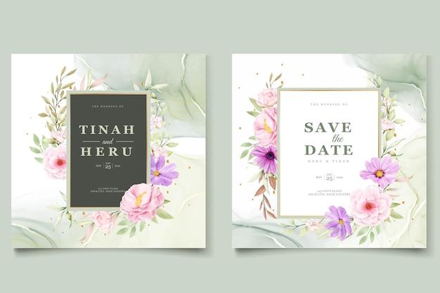 Cartão de convite de casamento de crisântemo watercolor Vetor Premium