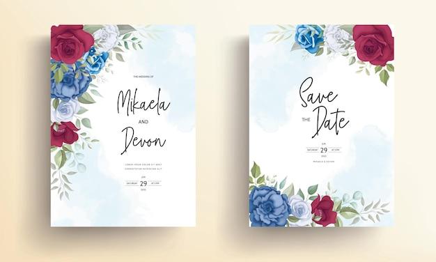 Cartão de convite de casamento de design floral com bela decoração de flores