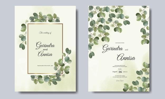 Cartão de convite de casamento de eucalipto com lindo modelo floral e folhas