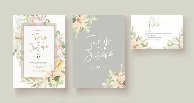 Cartão de convite de casamento de flor de lírio