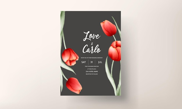 Cartão de convite de casamento de flor de tulipa romântica