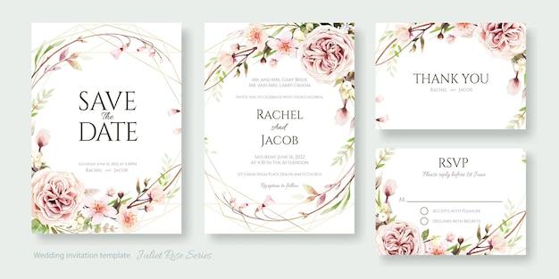 Cartão de convite de casamento de flor rosa de julieta, salvar a data, obrigado, modelo de rsvp.