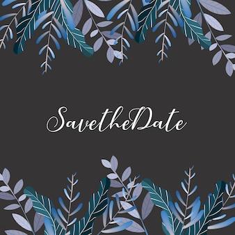 Cartão de convite de casamento de flor, salvar o cartão de data, cartão