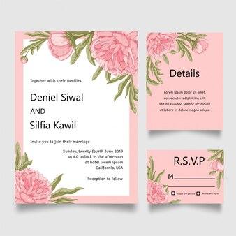 Cartão de convite de casamento de flor
