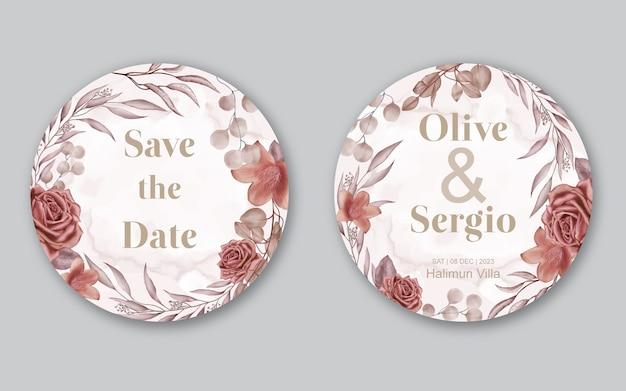 Cartão de convite de casamento de flores em aquarela com moldura