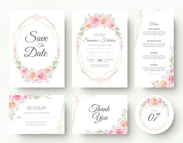 Cartão de convite de casamento de flores em aquarela de luxo papelaria