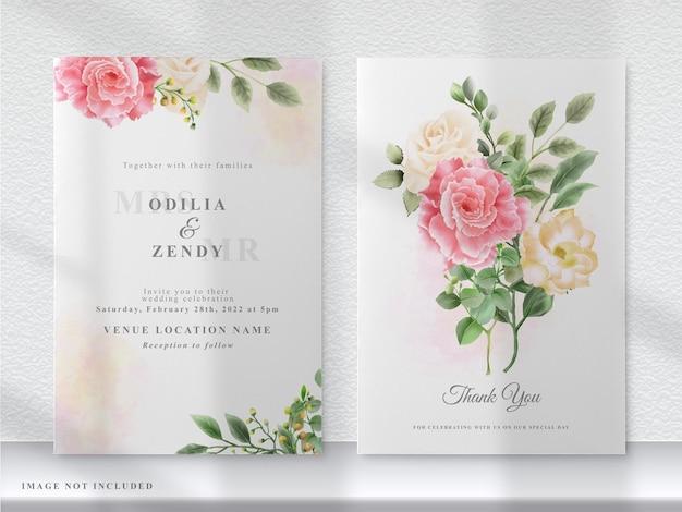 Cartão de convite de casamento de flores rosa e amarelas