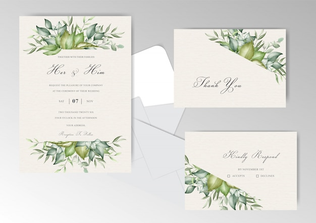 Cartão de convite de casamento de folhagem de vegetação editável com elegante flor e folhas