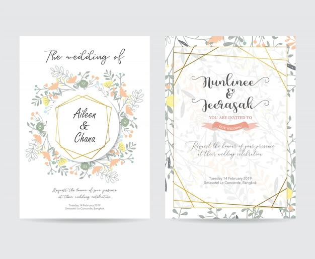 Cartão de convite de casamento de geometria ouro com flor