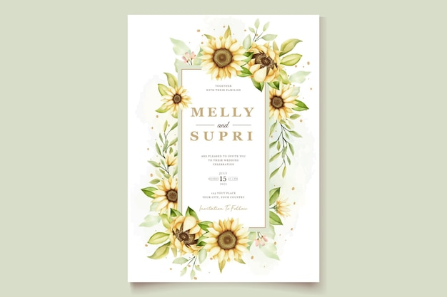 Cartão de convite de casamento de girassol em aquarela