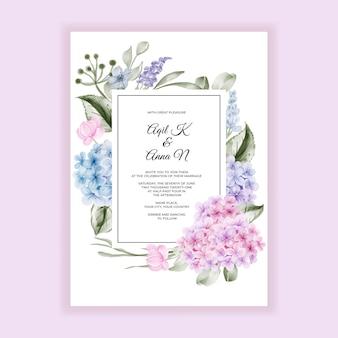 Cartão de convite de casamento de hortênsia de flor em aquarela elegante