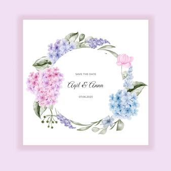 Cartão de convite de casamento de hortênsia de flor em aquarela
