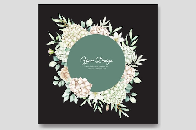 Cartão de convite de casamento de hortênsia em aquarela