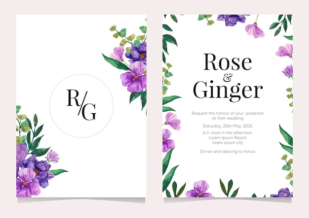 Cartão de convite de casamento de ilustração em aquarela de flores
