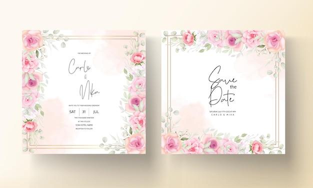 Cartão de convite de casamento de linda flor macia