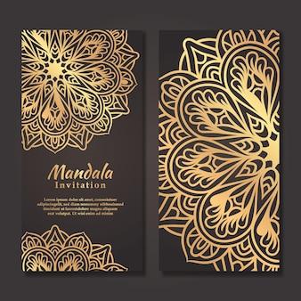 Cartão de convite de casamento de luxo com design de mandala de ouro, modelo de convite de casamento de mandala