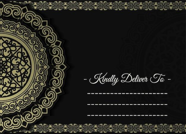 Cartão de convite de casamento de luxo com mandala