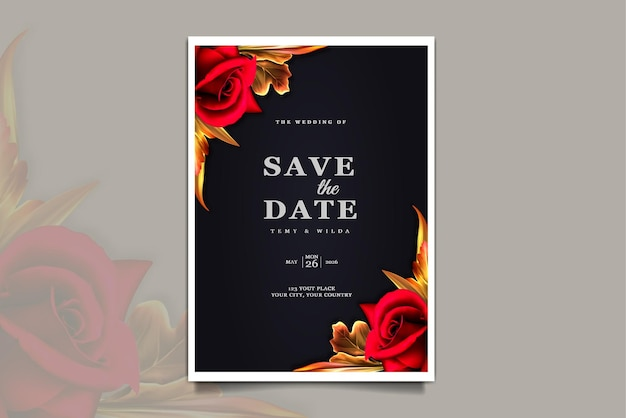 Cartão de convite de casamento de luxo para salvar a data