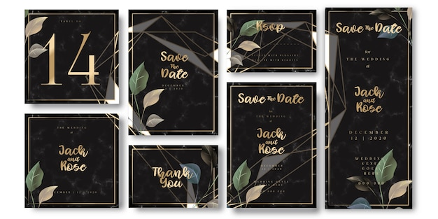 Cartão de convite de casamento de luxo preto e dourado