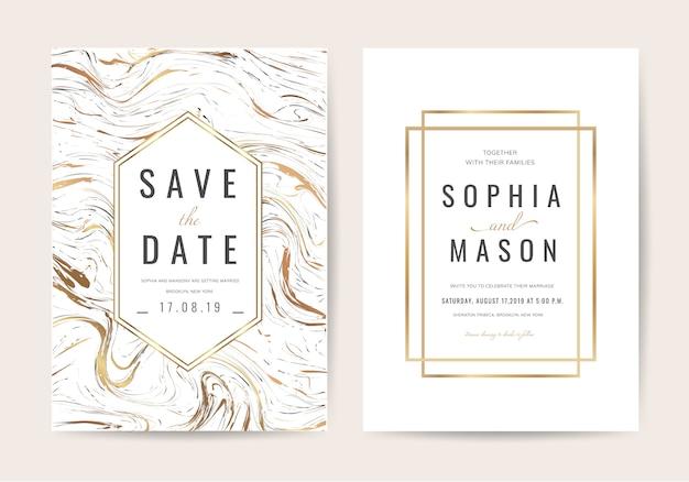 Cartão de convite de casamento de luxo