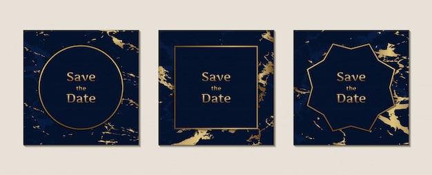 Cartão de convite de casamento de mármore azul escuro