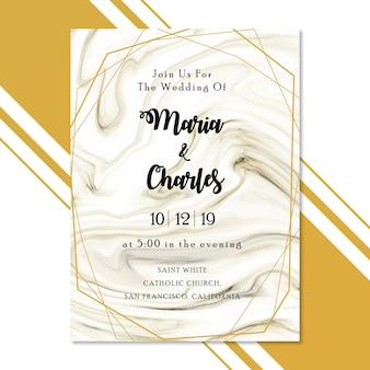 Cartão de convite de casamento de mármore com moldura dourada