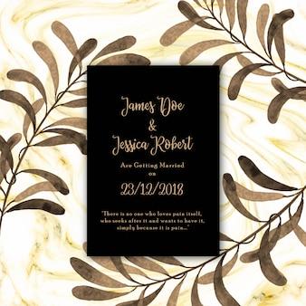 Cartão de convite de casamento de mármore textura abstrata com floral em estilo vintage