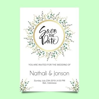 Cartão de convite de casamento de moldura de folha