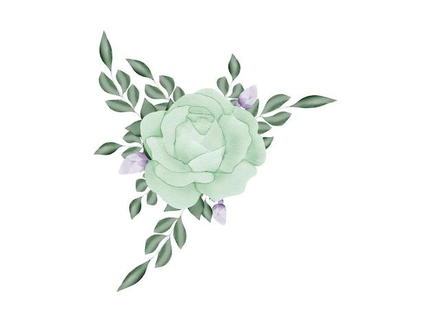 Cartão de convite de casamento de moldura floral em aquarela feito à mão