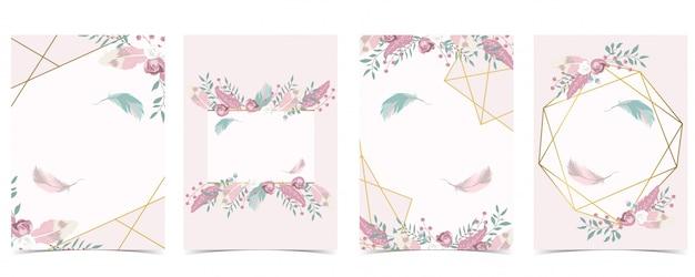 Cartão de convite de casamento de ouro azul rosa geometria com rosa, folha, fita, coroa de flores, penas e moldura
