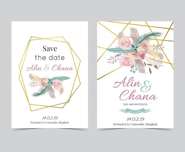 Cartão de convite de casamento de ouro de geometria com moldura