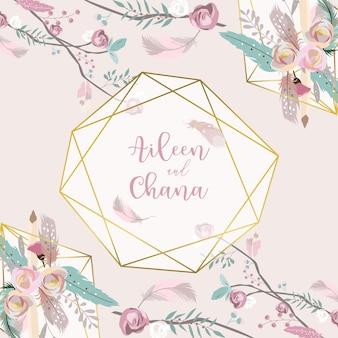 Cartão de convite de casamento de ouro rosa de geometria com rosa