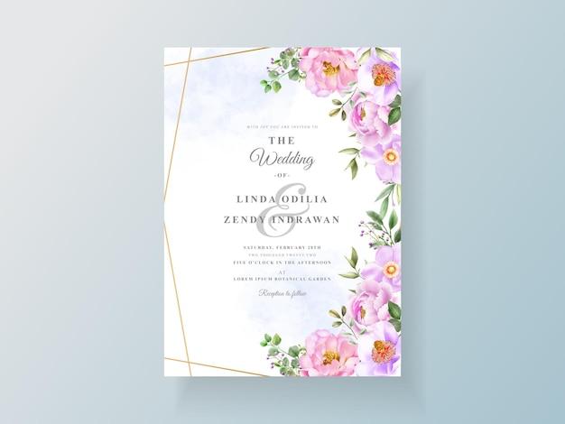 Cartão de convite de casamento de peônia e rosas