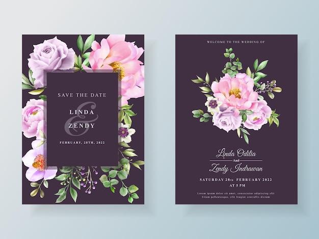 Cartão de convite de casamento de peônia e rosas Vetor Premium