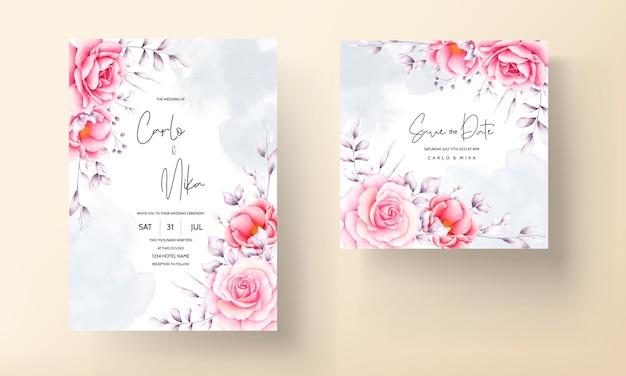 Cartão de convite de casamento de rosa vermelha em aquarela