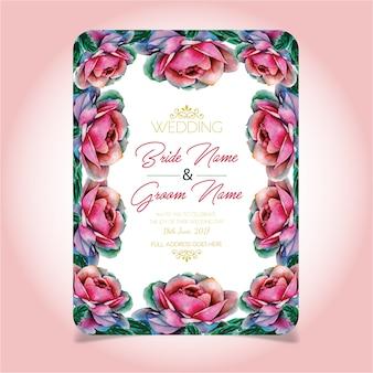Cartão de convite de casamento de rosas da cor da água