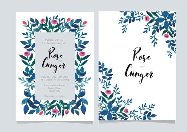 Cartão de convite de casamento de tema floral azul
