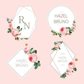 Cartão de convite de casamento decorado com rosas