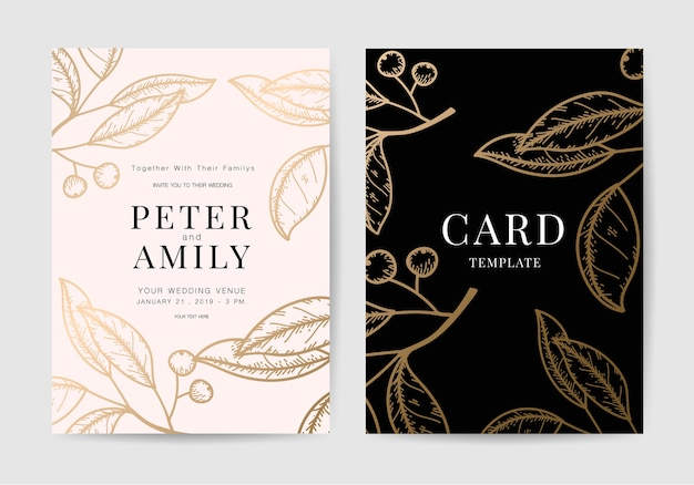 Cartão de convite de casamento desenhada de mão com estilo ouro de luxo