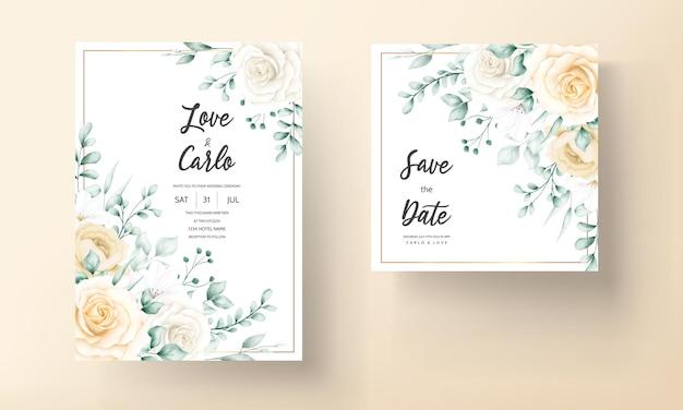 Cartão de convite de casamento desenhado à mão com moldura floral em aquarela