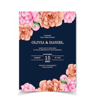 Cartão de convite de casamento desenhado à mão elegante