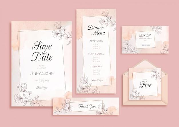 Cartão de convite de casamento desenhados à mão com aquarela de fundo floral