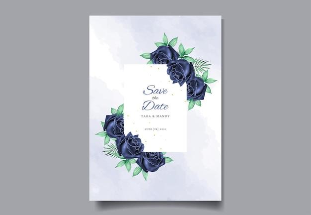 Cartão de convite de casamento design floral com desenho à mão