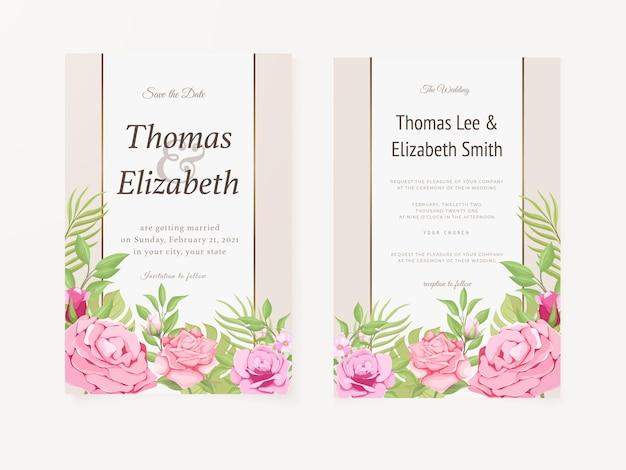 Cartão de convite de casamento design floral de verão