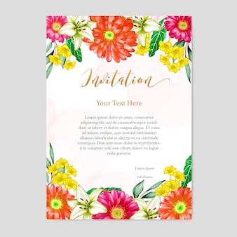 Cartão de convite de casamento design floral