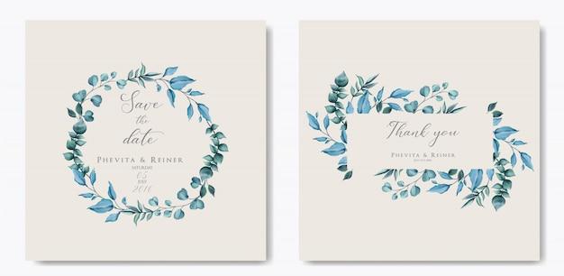 Cartão de convite de casamento do vintage com moldura de folhas