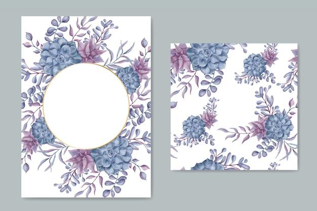 Cartão de convite de casamento do vintage com padrão sem emenda de moldura floral