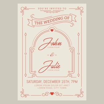Cartão de convite de casamento do vintage