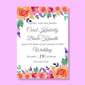Cartão de convite de casamento doce flor aquarela